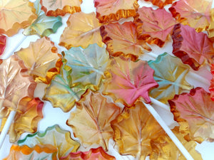 Fall leaves hard candy lollipops (12 pc)