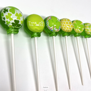 Funky Shamrocks set of 6 lollipops by I Want Candy!