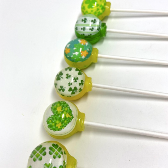 Shamrock Patch set of 6 lollipops by I Want Candy!