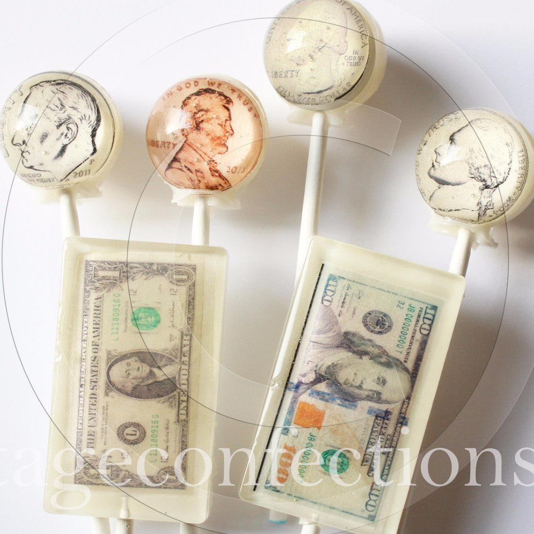 Tax time US coins and currency edible art lollipops by I Want Candy!