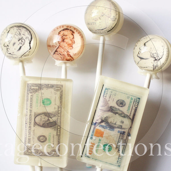 Tax time US coins and currency edible art lollipops by Vintage Confections