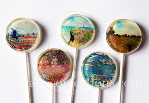 Claude Monet paintings edible image lollipops by I Want Candy!