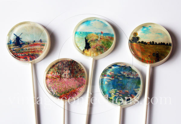 Claude Monet paintings edible image lollipops by Vintage Confections