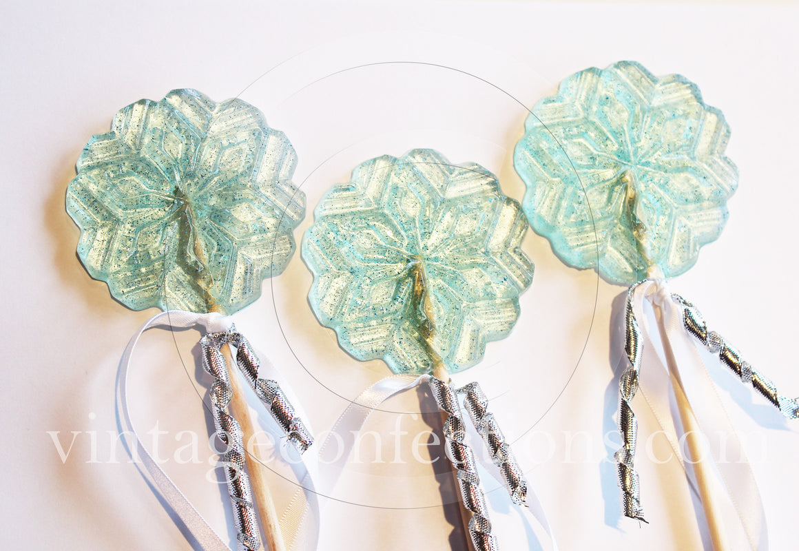 6pc Frozen snowflake wand lollipops by I Want Candy!