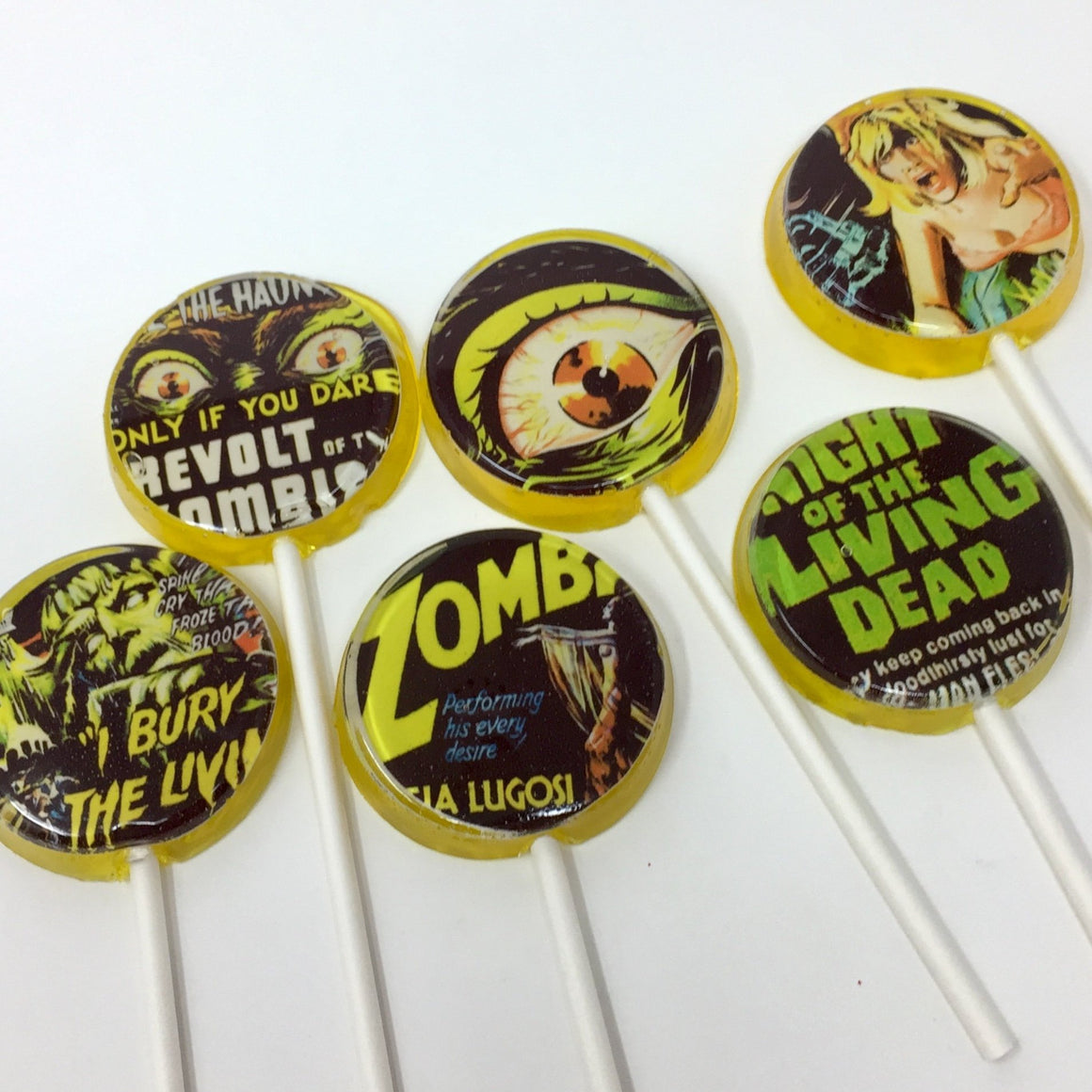 Zombie apocalypse flat style edible image lollipops by I Want Candy!