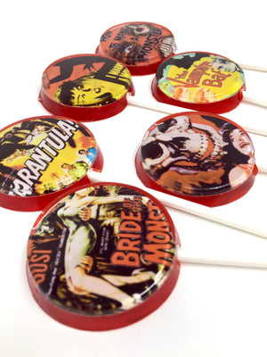 Cult Classics flat style edible image lollipops by I Want Candy!
