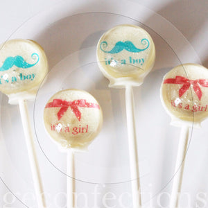 Gender reveal mystery message lollipops