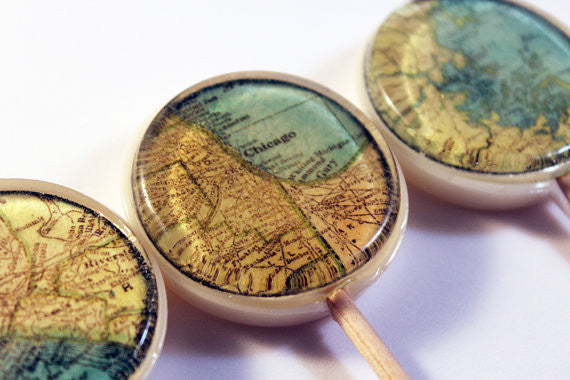 Sweet home maps lollipops by Vintage Confections