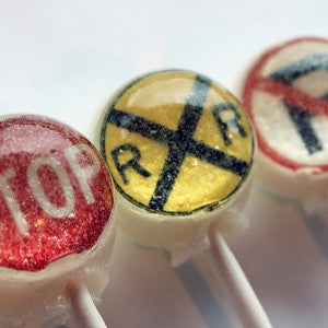Traffic signs and signals edible art lollipops