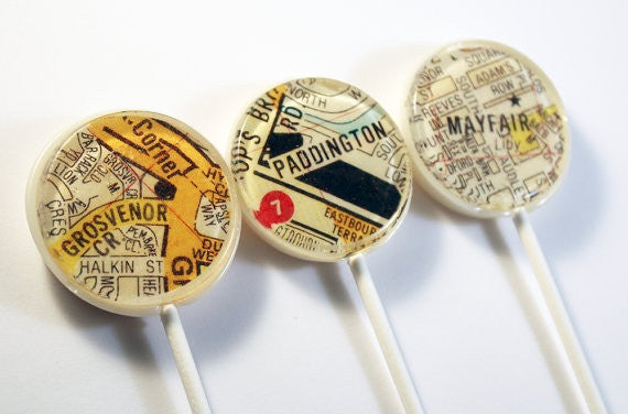 Streets of London edible art lollipops by I Want Candy!
