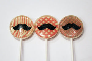 Mustache party edible art lollipops by Vintage Confections