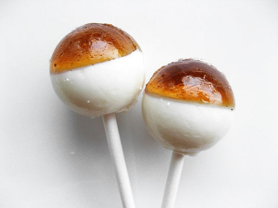 Caramel cream layered lollipops by Vintage Confections