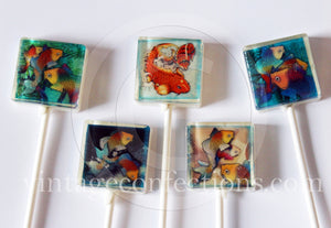 Koi colorful fish square style edible image lollipops