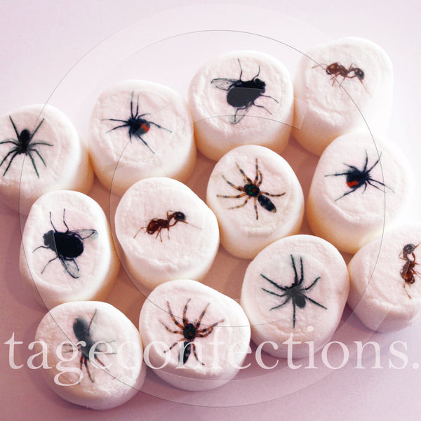 Creepy bugs and arachnids edible art marshmallows by Vintage Confections