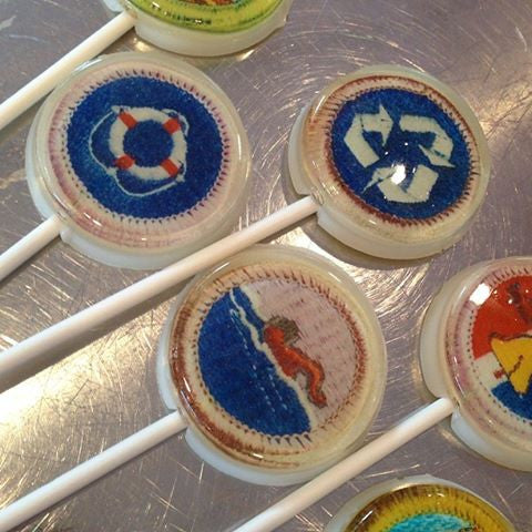 Merit badge Boy Scout inspired lollipops by I Want Candy!