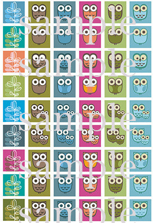 Colorful modern owls square style edible image lollipops by I Want Candy!