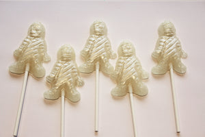 Mummy shaped Halloween lollipops by I Want Candy! (5pc)