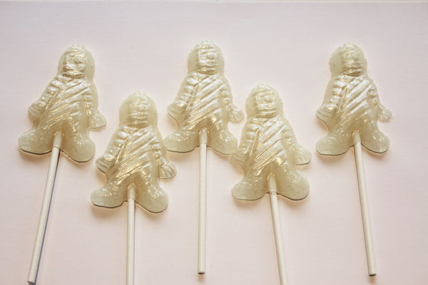 Mummy shaped Halloween lollipops by Vintage Confections (5pc)