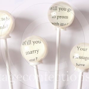 Mystery Message lollipops by Vintage Confections