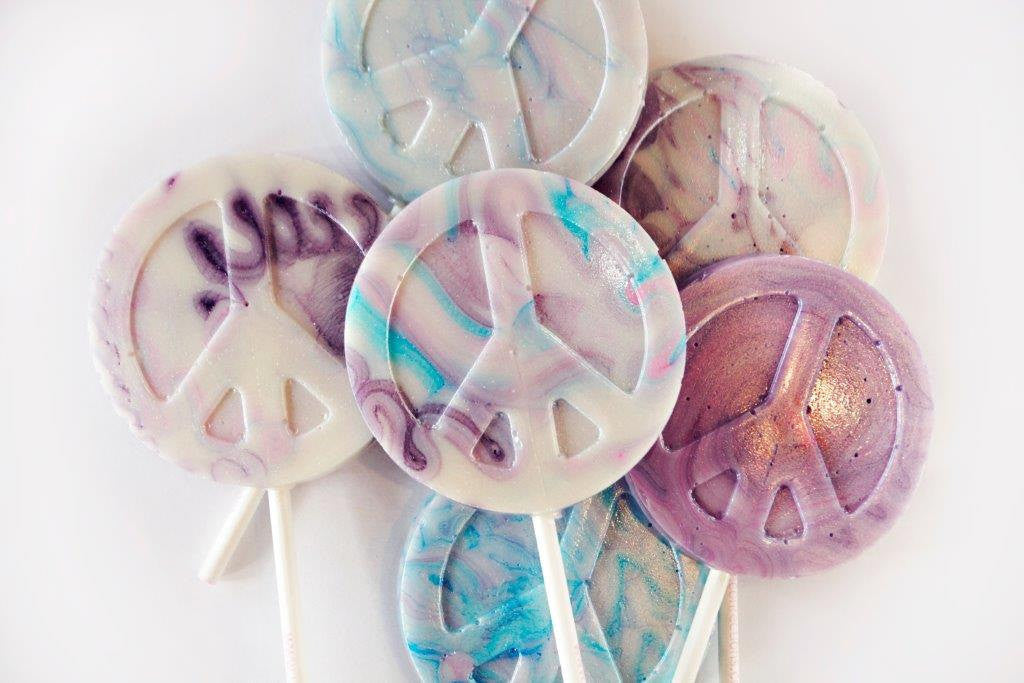 Peace symbol lollipops (4pc)