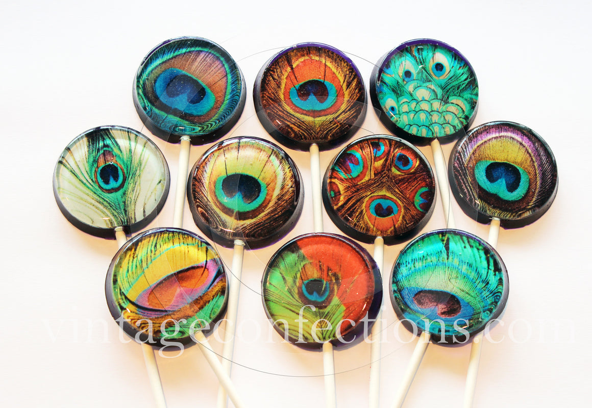 Peacock feathers lollipops by I Want Candy!