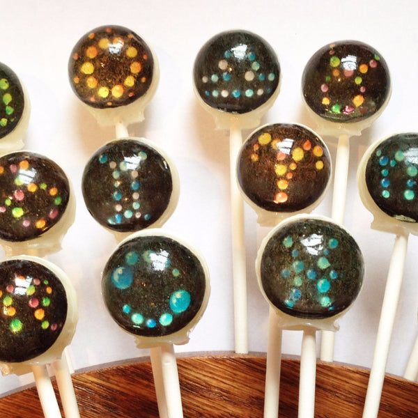 Zodiac and elements edible image lollipops by Vintage Confections