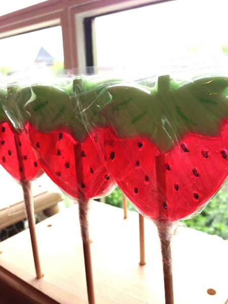 Strawberry lollipops by Vintage Confections (4pc)