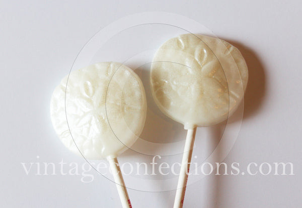 Nautical Sand dollar shaped lollipops by Vintage Confections (6pc)