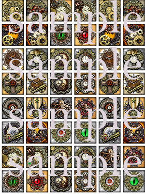 Steampunk designs square edible image lollipops by Vintage Confections
