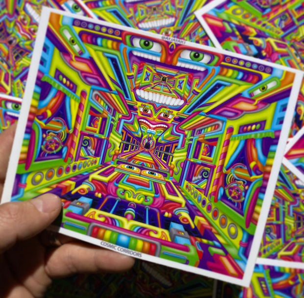Cosmic Corridors - Psychedelic Art Sticker by Ayjay