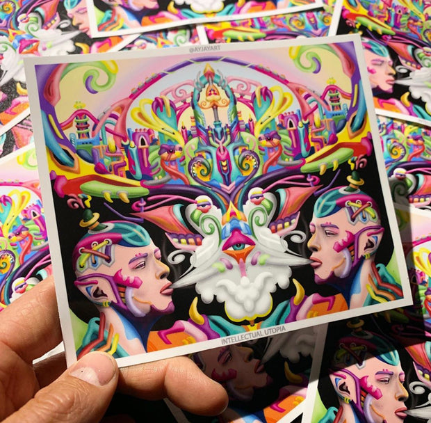 Intellectual Utopia DMT psychedelic art sticker by Ayjay
