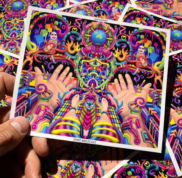 Spirit Molecule - Psychedelic Art Sticker - Ayjay Art