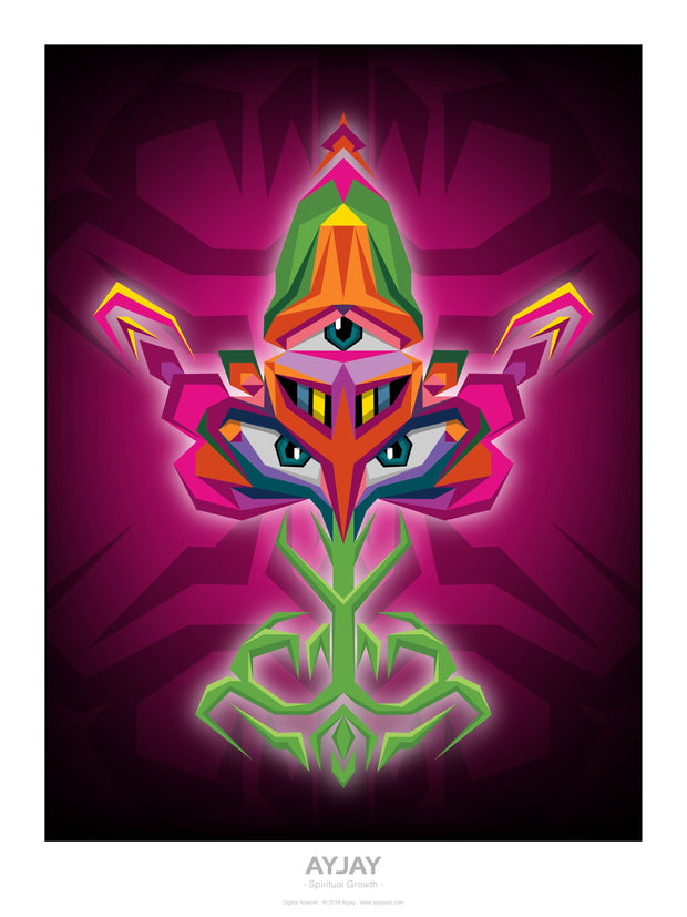 Spiritual Growth - Psychedelic Art Print - Ayjay Art