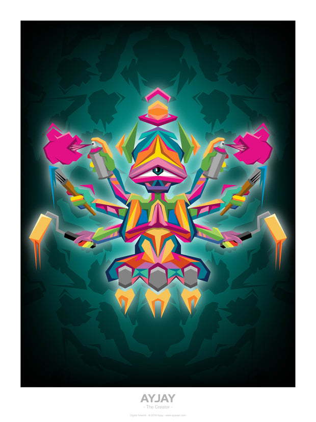 The Creator - Psychedelic Art Print - Ayjay Art
