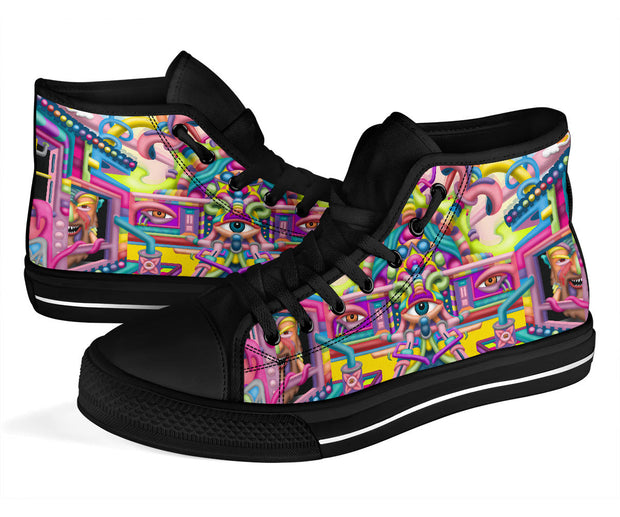 LSD Lysergic Revelation Psychedelic Art hightop shoes by Ayjay