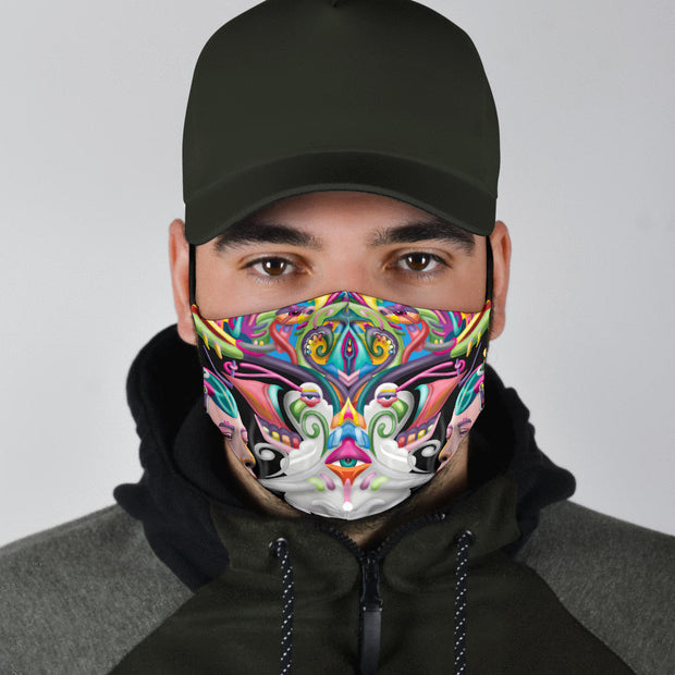 Psychedelic DMT art face masks by Ayjay Art