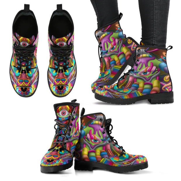 Psychedelic DMT art Vegan Boots by Ayjay