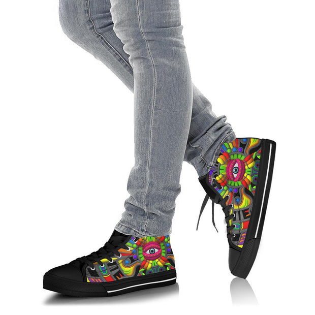 Rainbow Chasers Psychedelic High Top Shoes by Ayjay