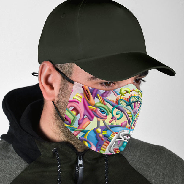 DMT Art Psychedelic Face Mask by Ayjay