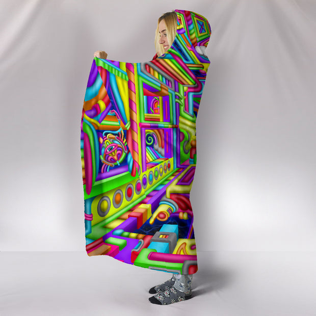 Cosmic Corridors - Hooded Blanket