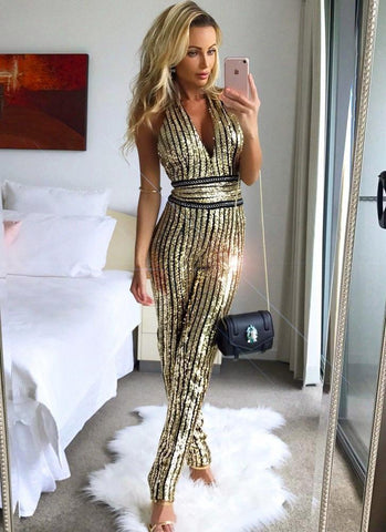 Marta Sequins Jumpsuit- Gold Jumpsuits ARTICAT Official Store XS