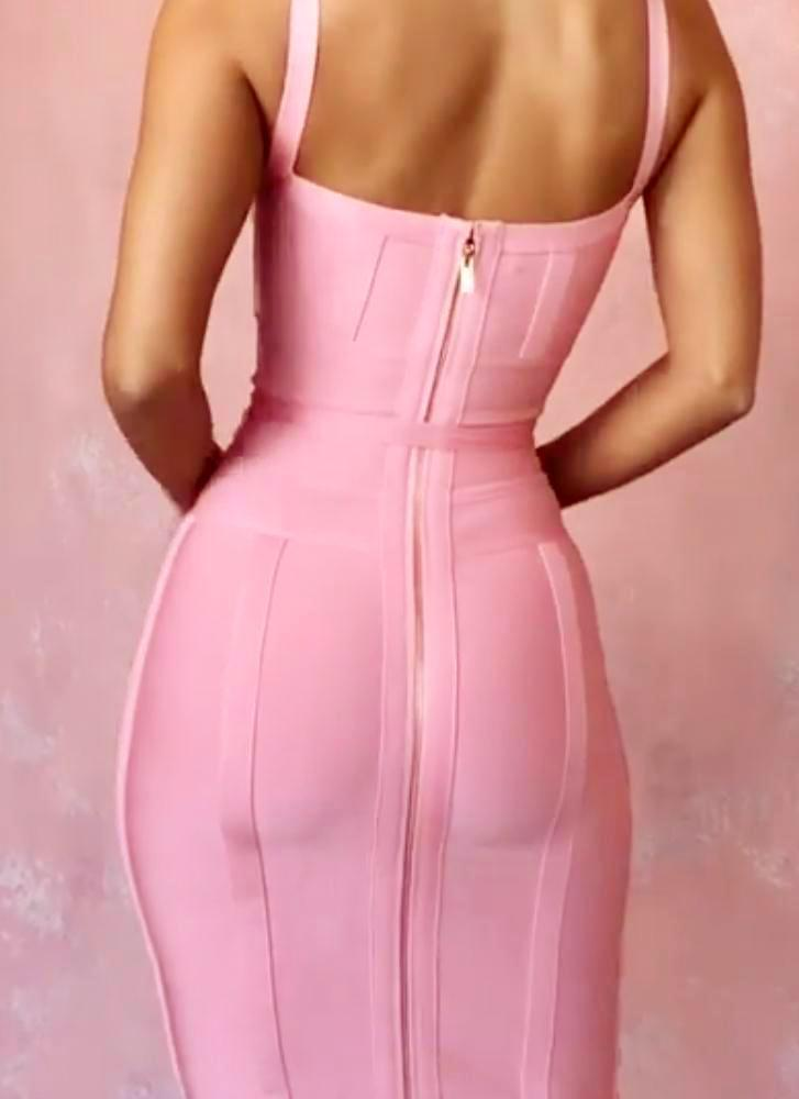 Lisa Bodycon Bandage Dress- Pink - Posh Fashion Girls