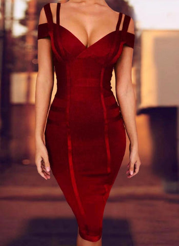 Chanel Off Shoulder Bandage Dress- Maroon Dresses Sexy LuLu Store S Maroon