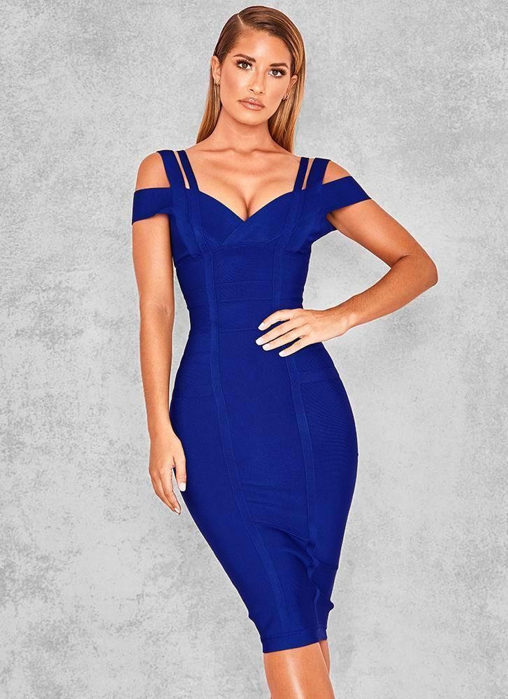 Chanel Off Shoulder Bandage Dress- Royal Blue Dresses Sexy LuLu Store