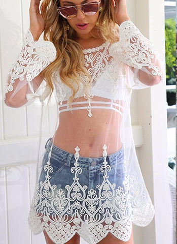 Ashlee Lace Top - White - Posh Fashion Girls