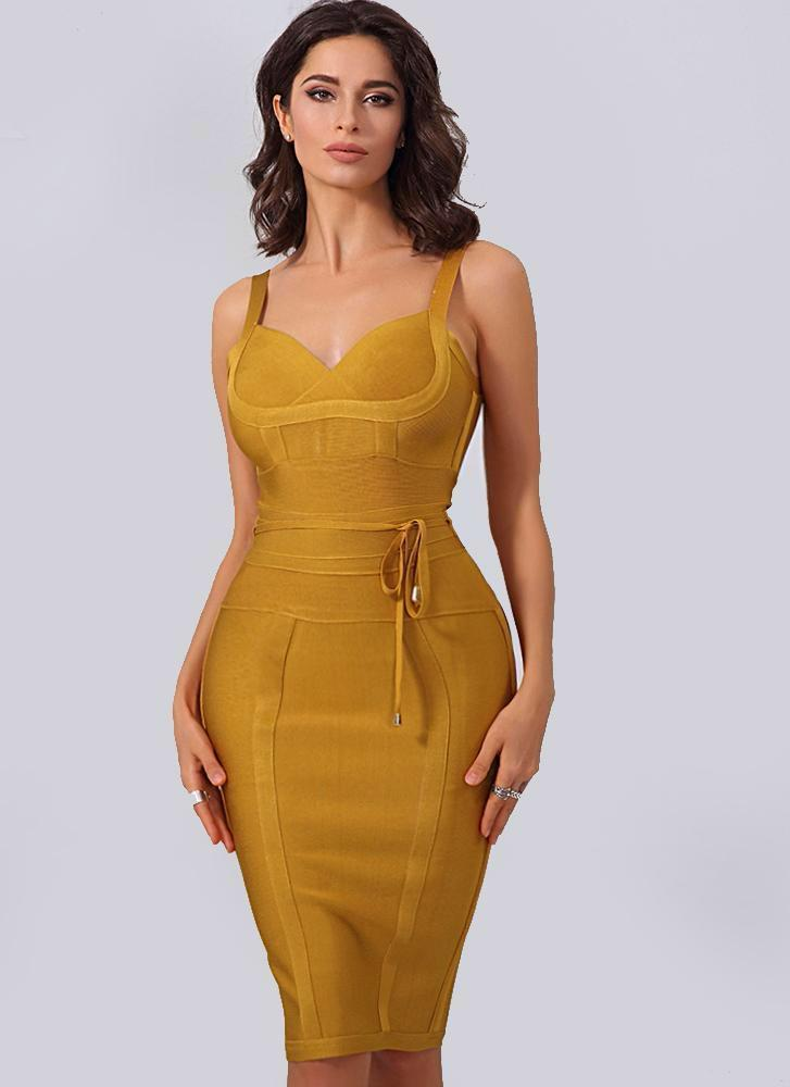 Lisa Bodycon Bandage Dress-Gold Dresses ADYCE Official Store S