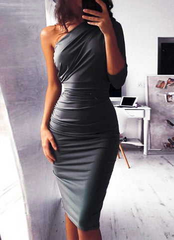 Dolly Elegant Bodycon Dress-Gray Dresses NATTEMAID Store S (US 6-8) Gray