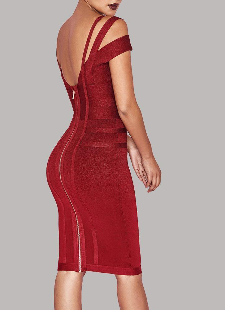 Chanel Off Shoulder Bandage Dress- Maroon Dresses Sexy LuLu Store