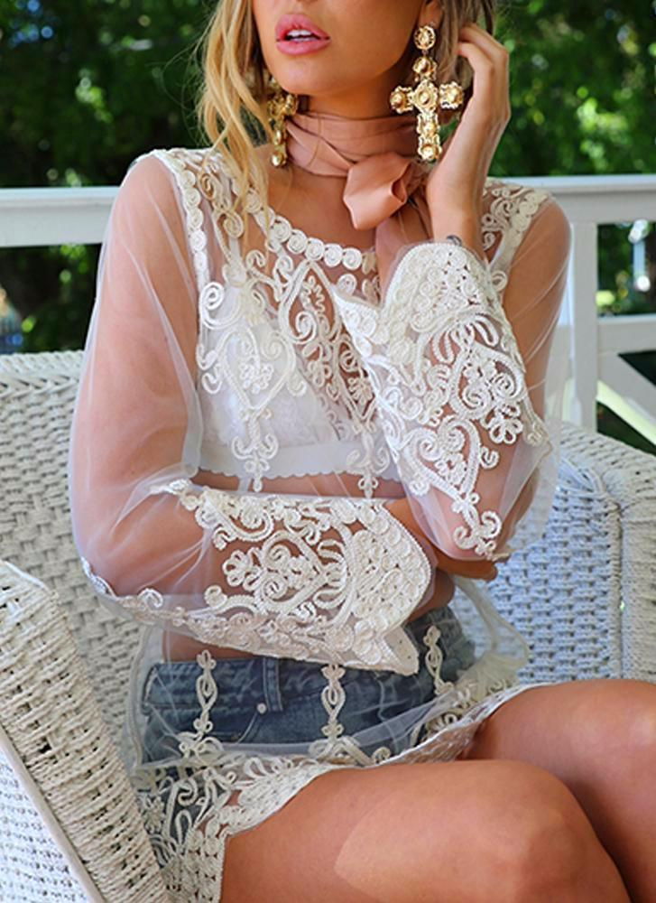 Ashlee Lace Top - White Blouses & Shirts XiXi Fast Store