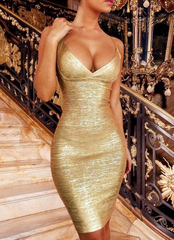 Ahoo Gold Cross Bandage Dress- Gold - Posh Fashion Girls